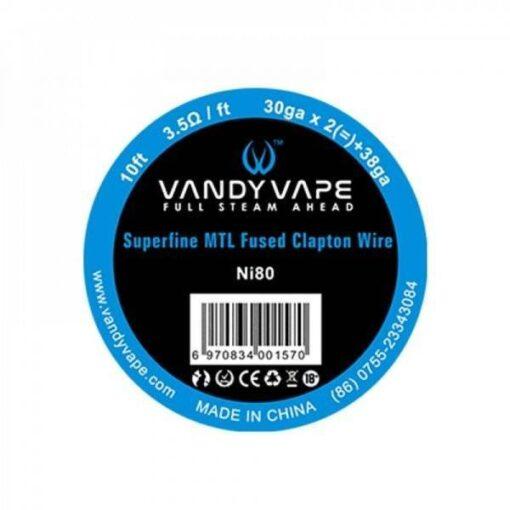 VANDY VAPE NI80 SUPERFINE MTL FUSED CLAPTON 30GA*2(=)+38GA SPOOL